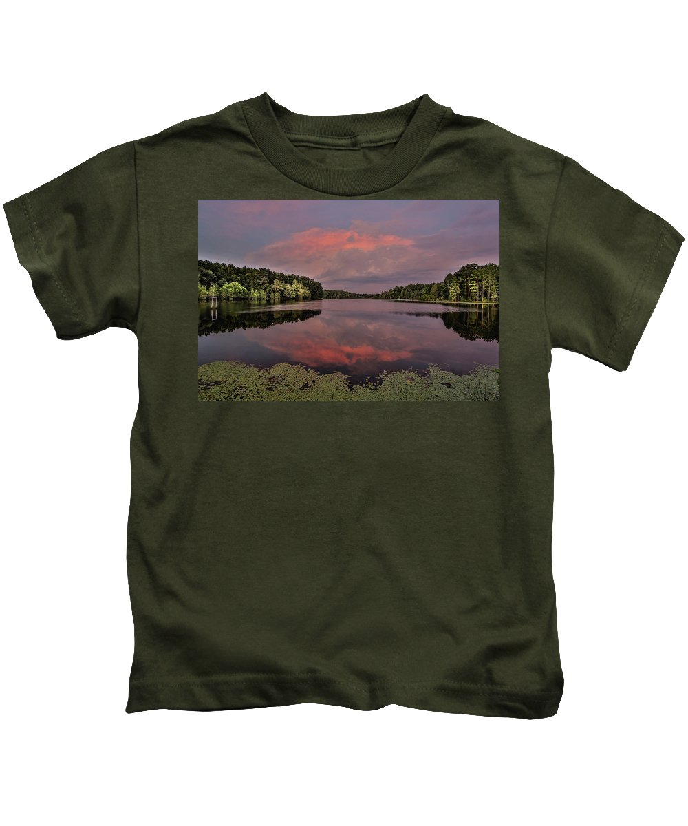 Rockingham Kids T-Shirt featuring the photograph Hinson Lake Clouds by Jimmy McDonald