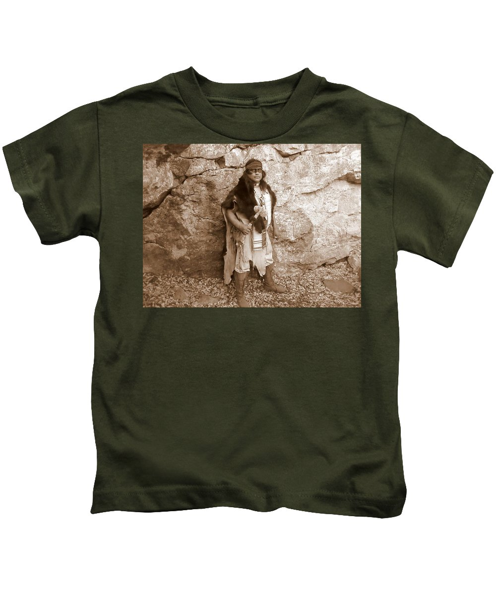 Indian Scout Warclub Apache Sepia Rocks Kids T-Shirt featuring the photograph His Warclub II by Cindy New