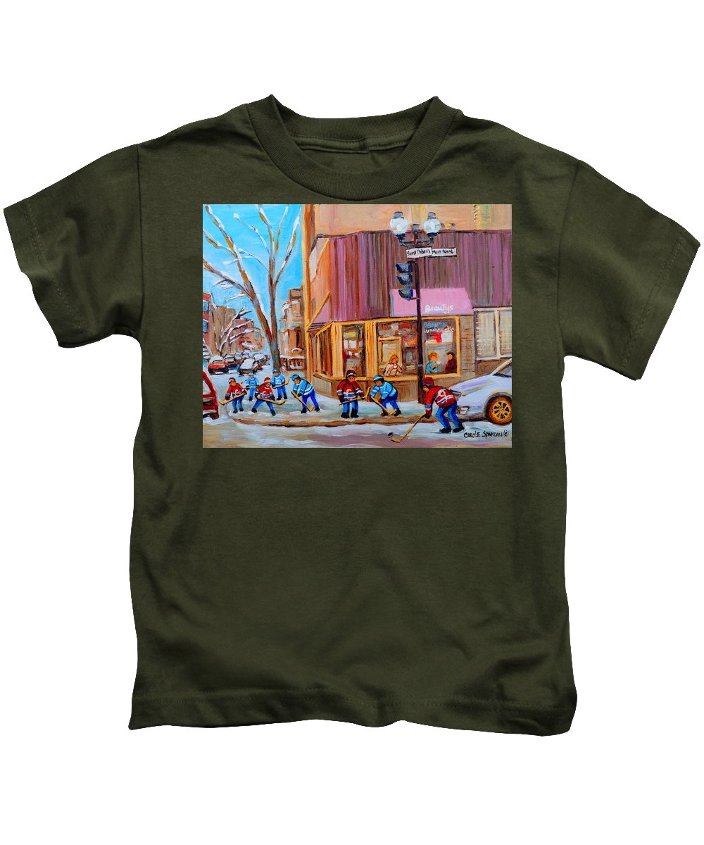 Beautys Luncheonette. Kids T-Shirt featuring the painting Hockey At Beautys Deli by Carole Spandau