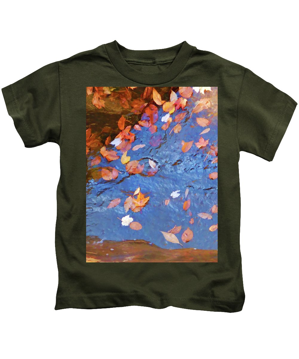 Waterfall And Autumn Leaves Kids T-Shirt featuring the painting Holding You Safe by Jeelan Clark