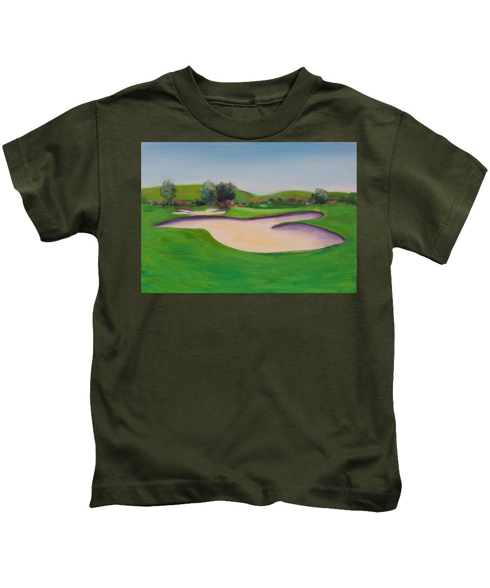 Golf Kids T-Shirt featuring the painting Hole 10 Pastures Of Heaven by Shannon Grissom