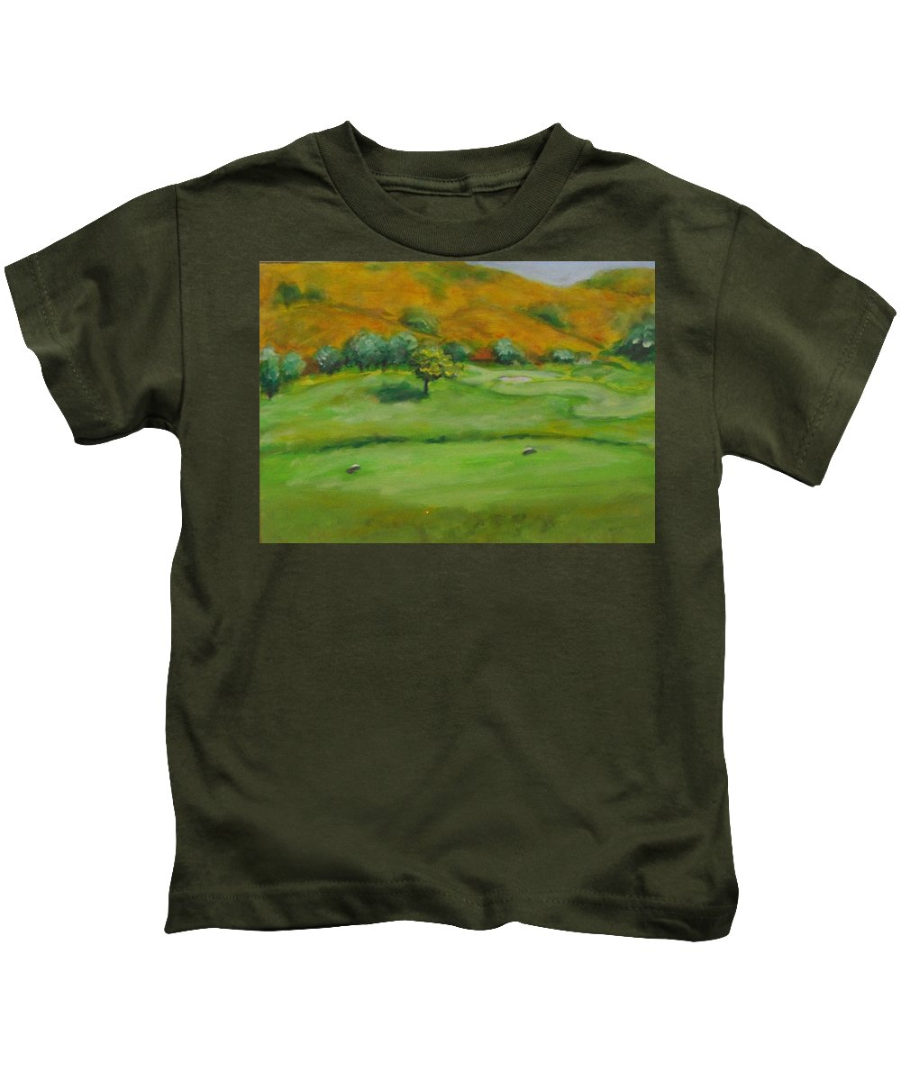 Golf Kids T-Shirt featuring the painting Hole 4 Outward Bound by Shannon Grissom