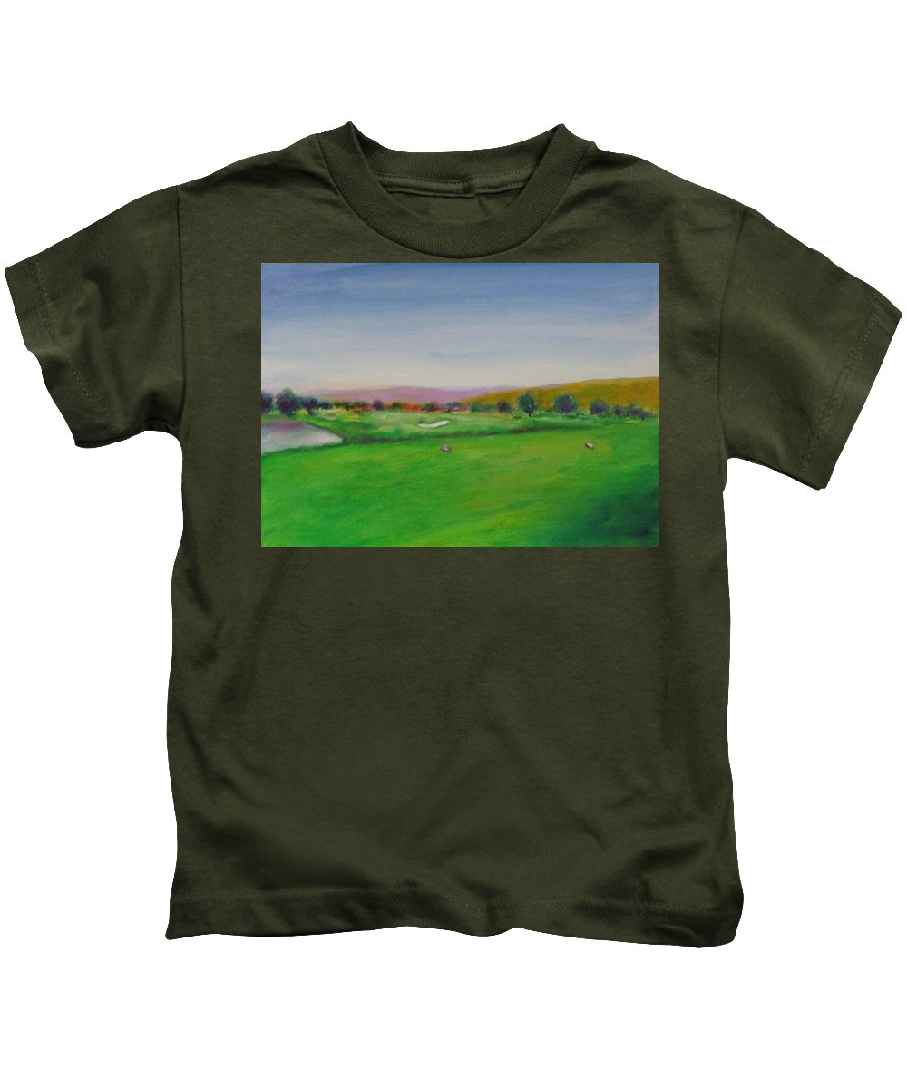 Golf Kids T-Shirt featuring the painting Hole 7 Of Mice And Men by Shannon Grissom