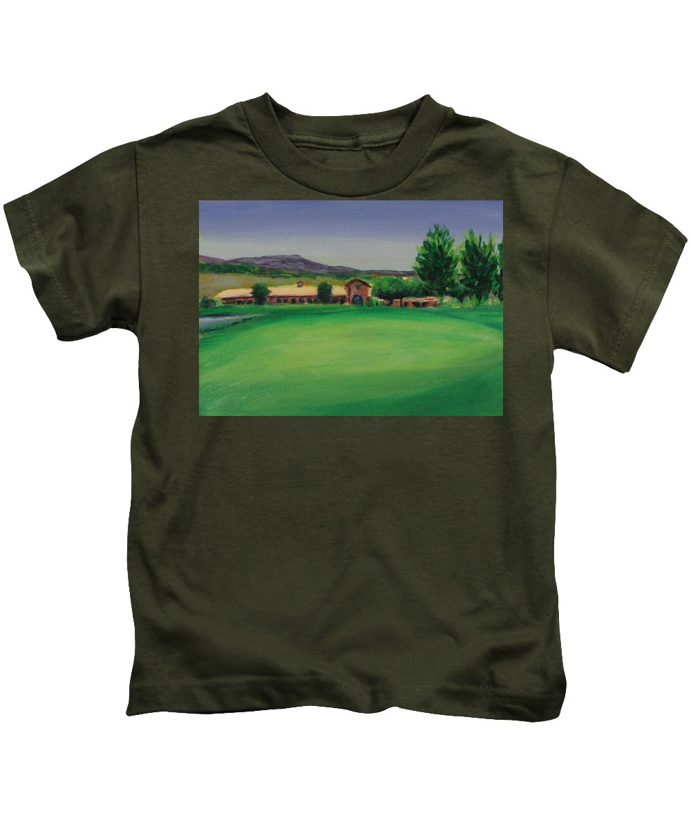 Golf Kids T-Shirt featuring the painting Hole 9 Entrapment by Shannon Grissom