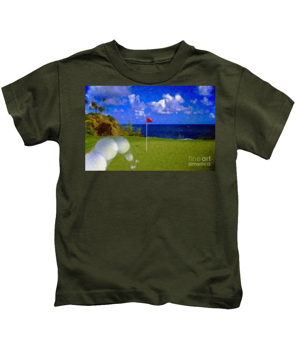 Hole In One 18th Green Ball Flag Green Ocean Palm Trees Kids T-Shirt featuring the photograph Fantastic 18th Green by David Zanzinger