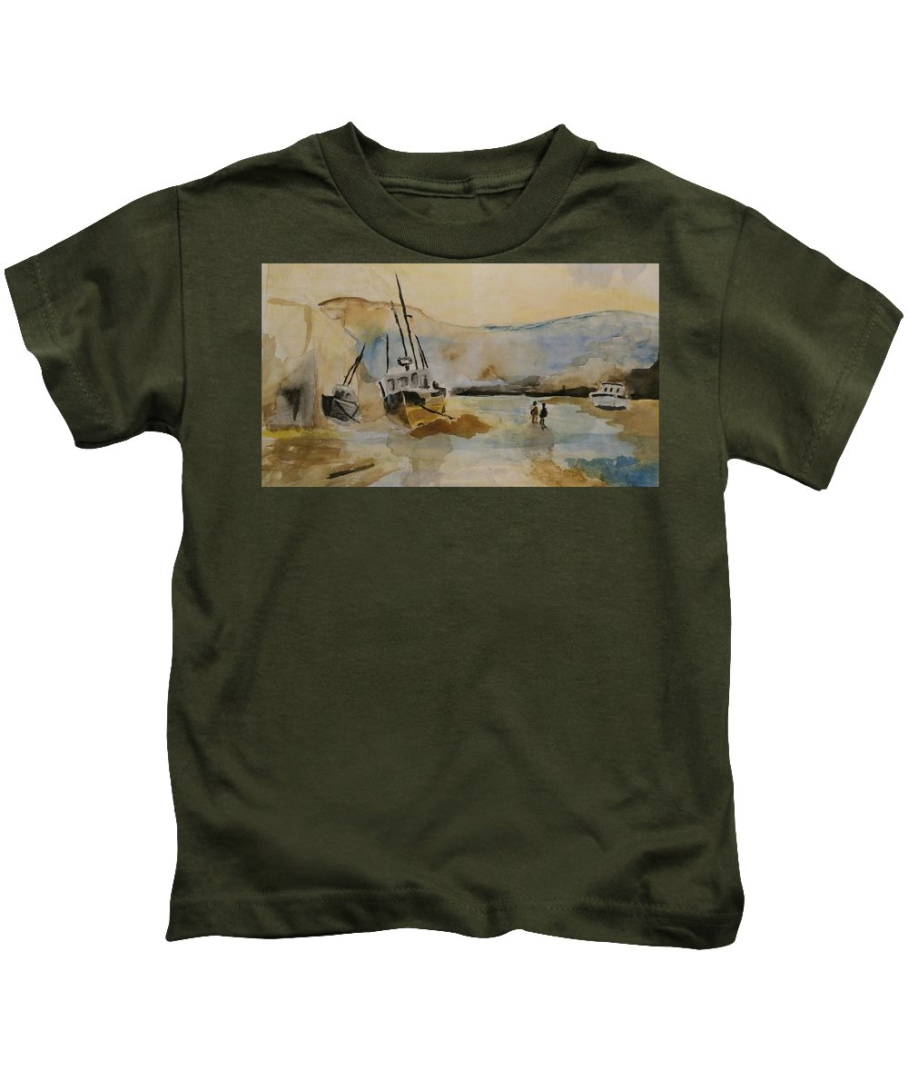 Landscape Kids T-Shirt featuring the painting Hollow Beauty by Sania Atif