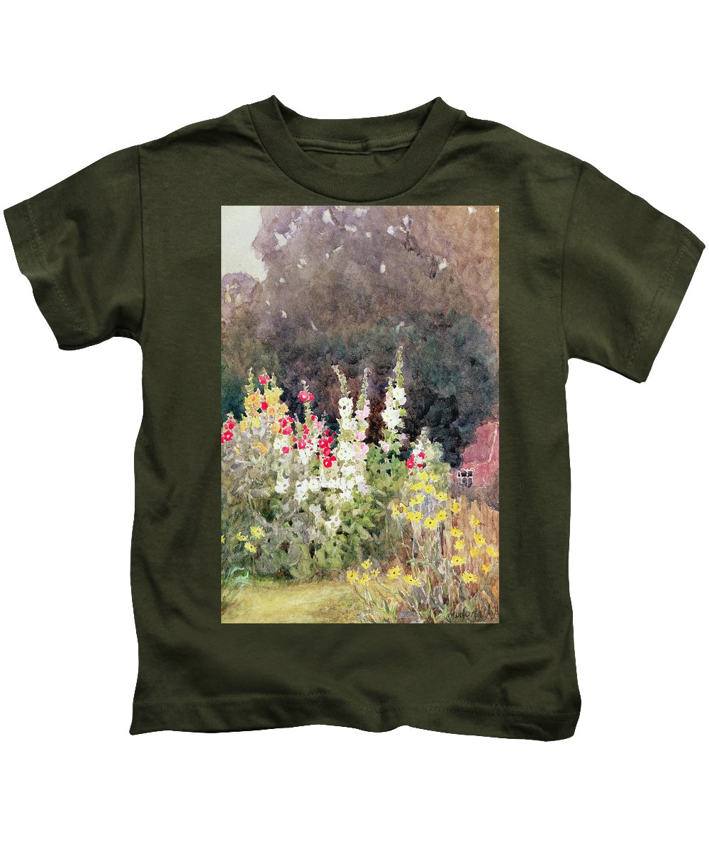 Hollyhocks Kids T-Shirt featuring the painting Hollyhocks by Helen Allingham
