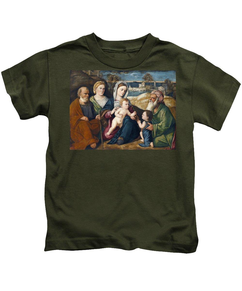 Pietro Degli Ingannati Holy Conversation Kids T-Shirt featuring the painting Holy Conversation by Pietro degli Ingannati