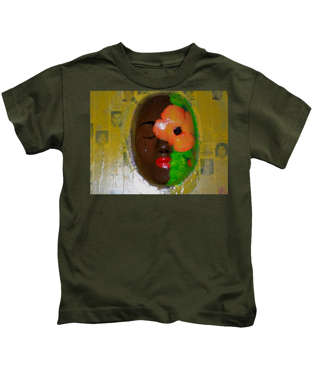 Mask Kids T-Shirt featuring the painting Homage Three by Laurette Escobar