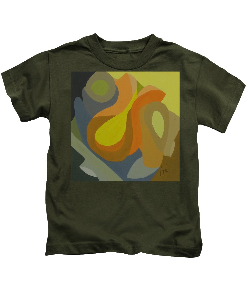 Abstract Kids T-Shirt featuring the painting Homage To The 70's by Cori Solomon