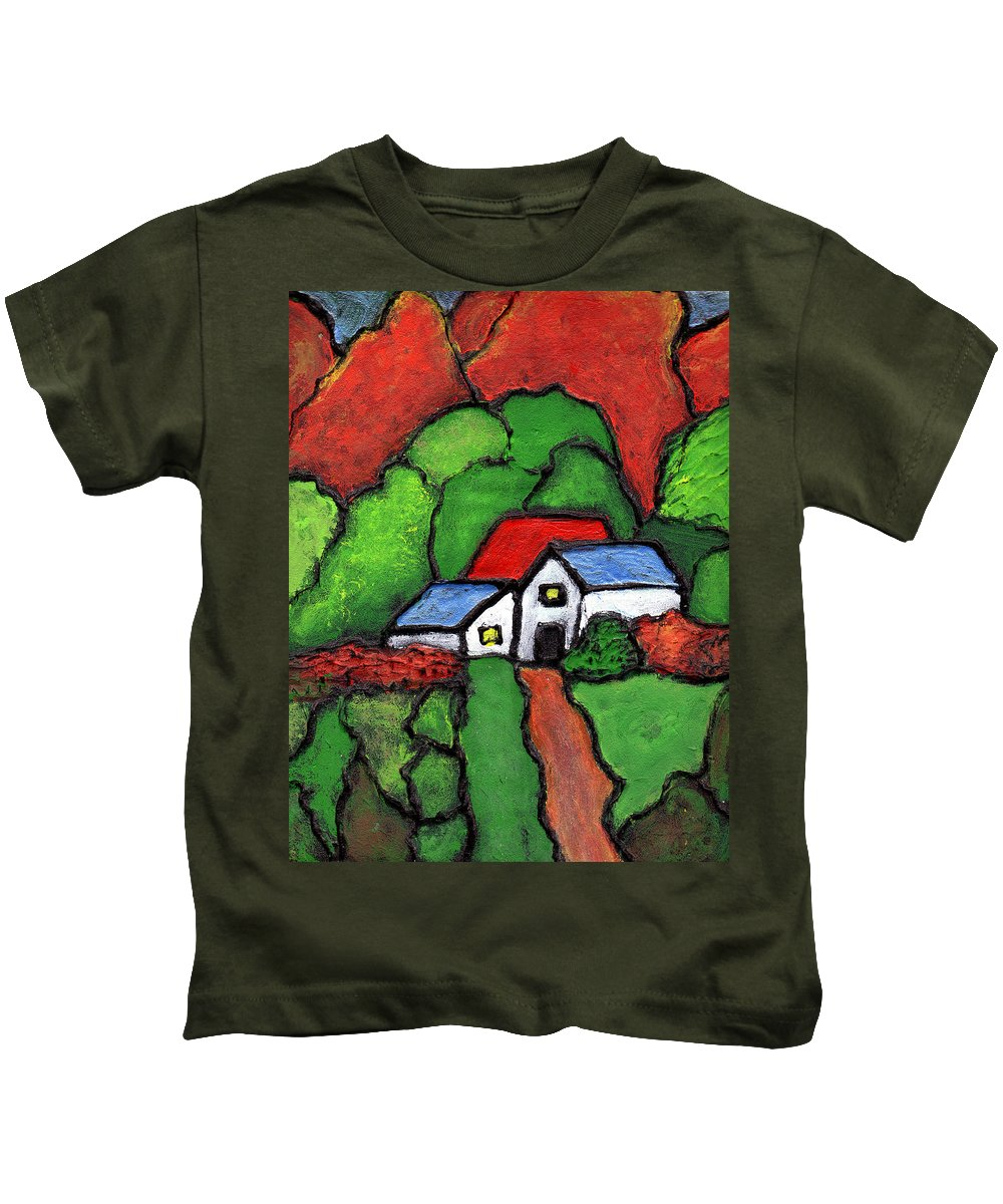 Rural Kids T-Shirt featuring the painting Home In The Country by Wayne Potrafka