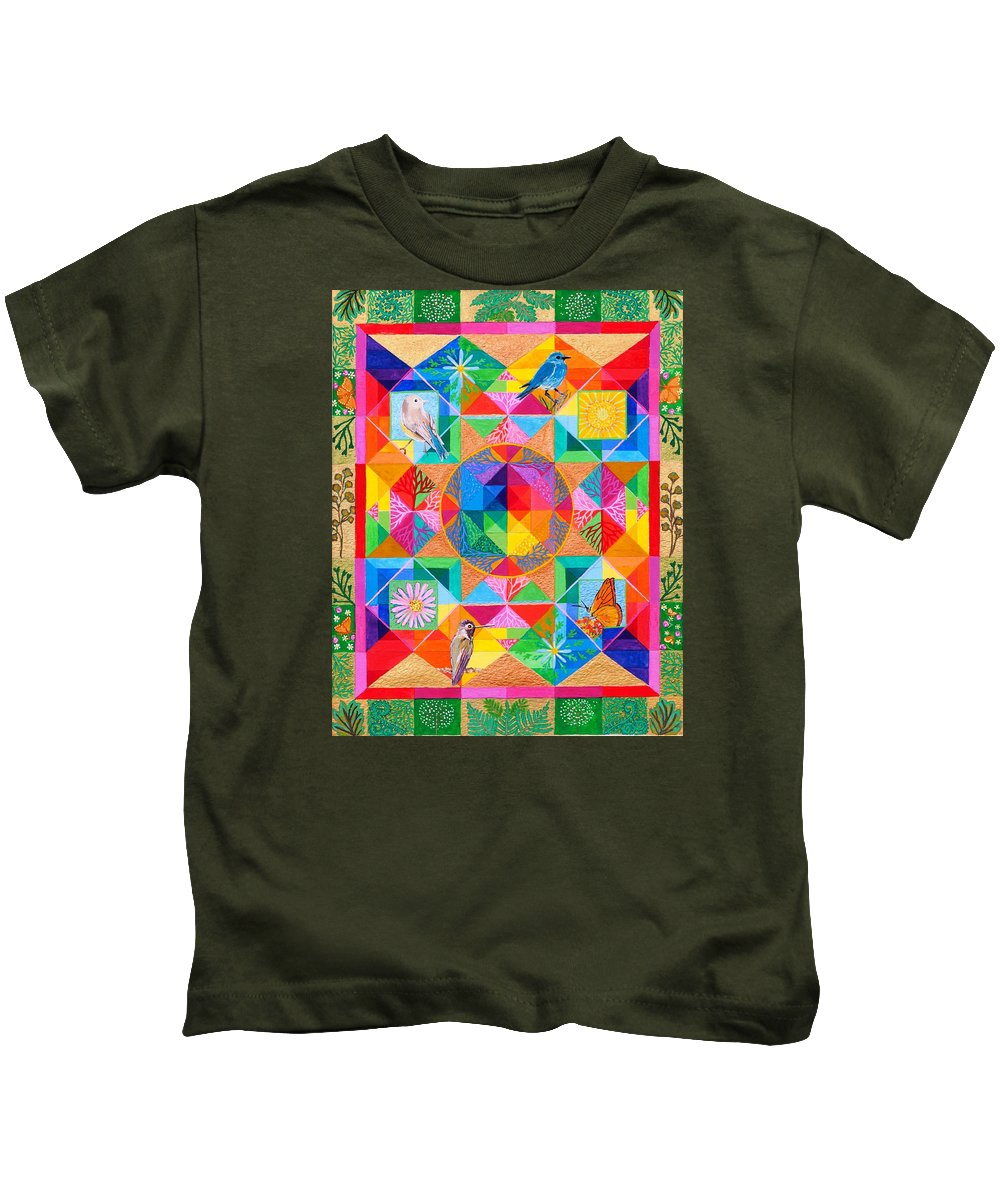 Abstract Rainbow Quilt Painting With Birds And Nature Motif. Kids T-Shirt featuring the painting Hope Is The Thing With Feathers by Sandy Thurlow