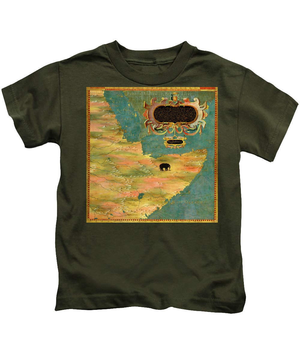 Map Kids T-Shirt featuring the painting Horn Of Africa, Ethiopia And Somalia by Italian painter of the 16th century