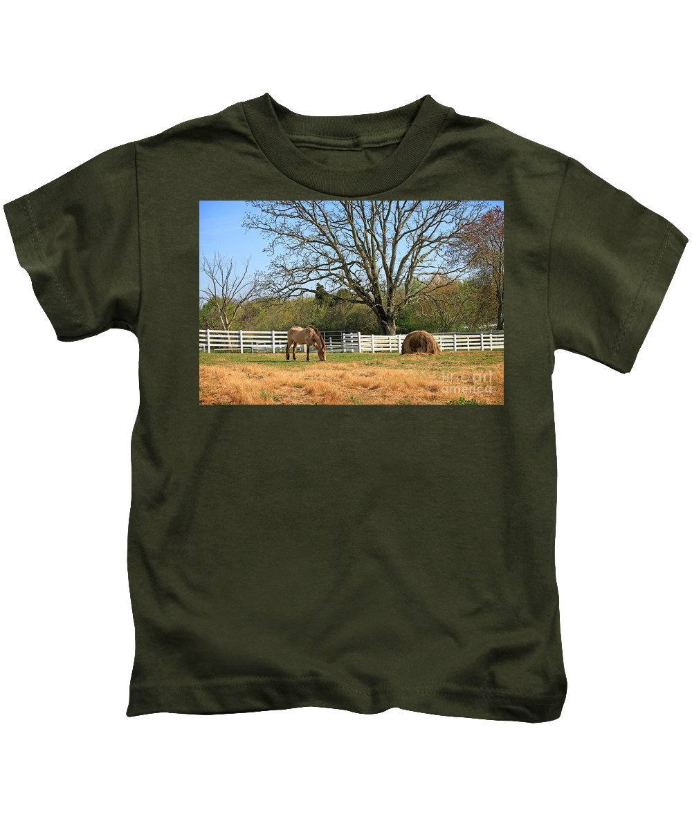 Landscape Kids T-Shirt featuring the photograph Horse And Hay by Todd Blanchard