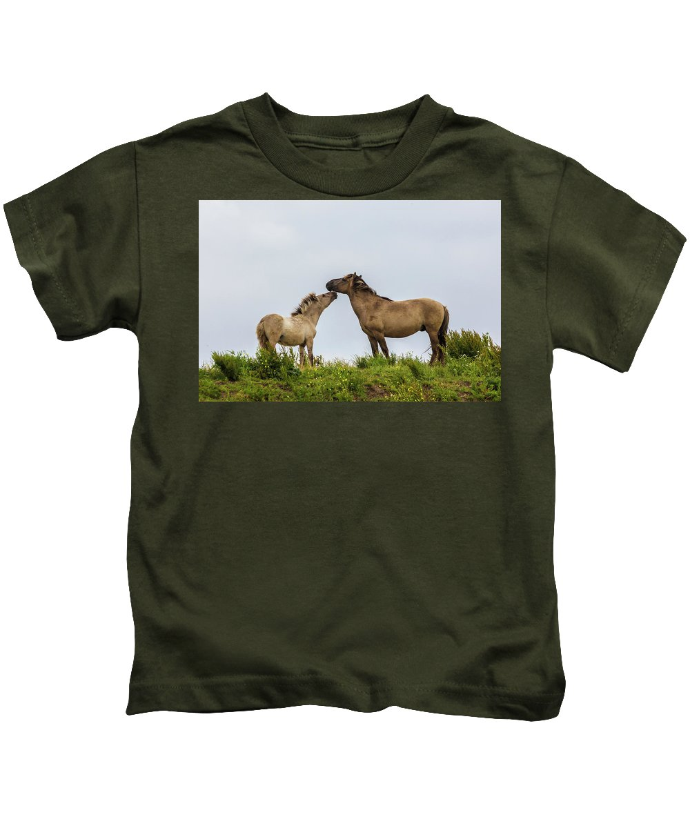 Dutch Kids T-Shirt featuring the photograph Horse Love by Andrew Balcombe