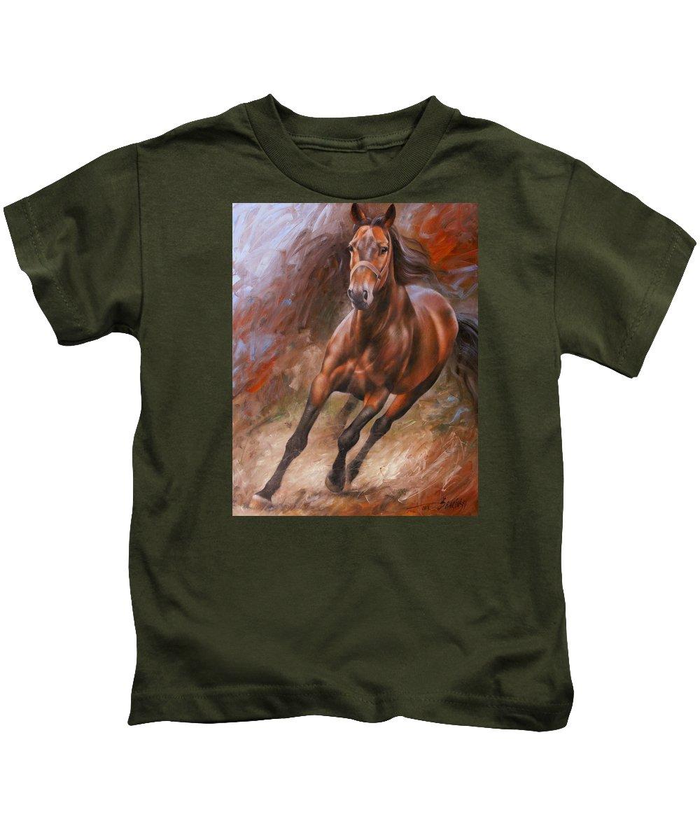 Art Kids T-Shirt featuring the painting Horse2 by Arthur Braginsky