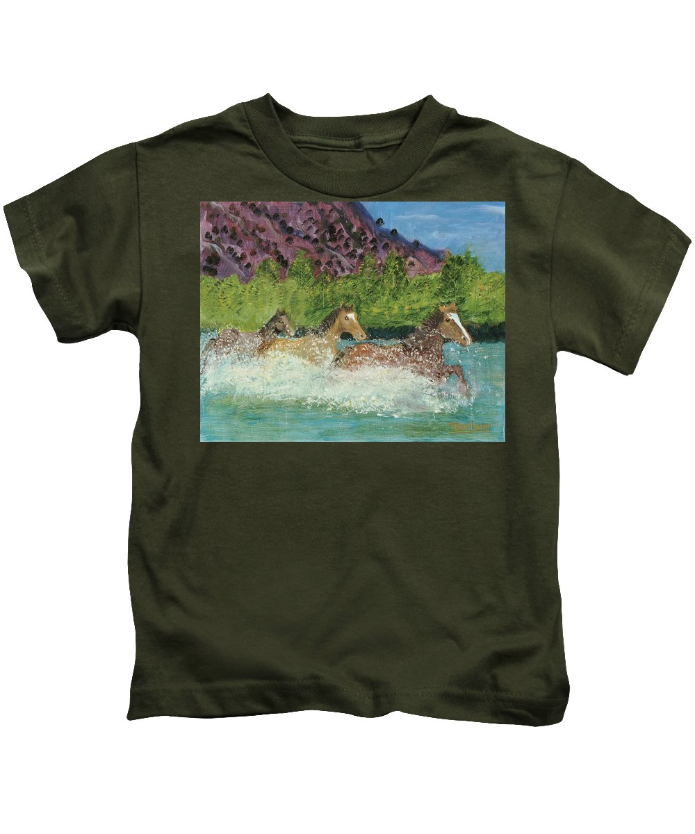 Horses Kids T-Shirt featuring the painting Horses In Stream by Terry Lewey