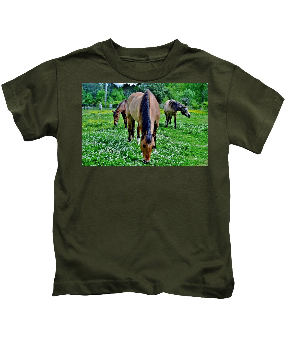 Horses Kids T-Shirt featuring the photograph Horses In The Meadow by Eileen Brymer