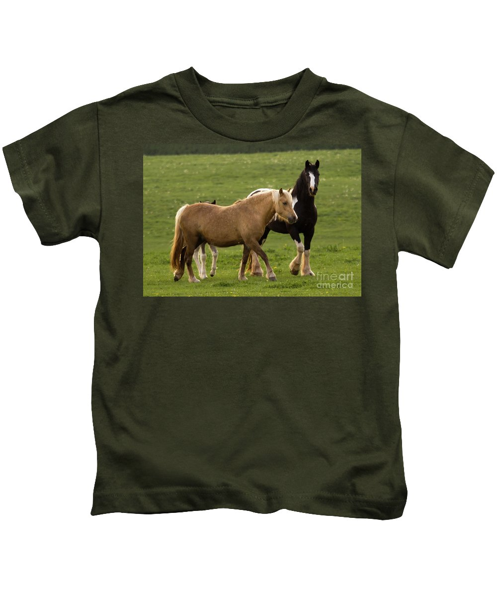 Horse Kids T-Shirt featuring the photograph Horses Photography by Angel Ciesniarska