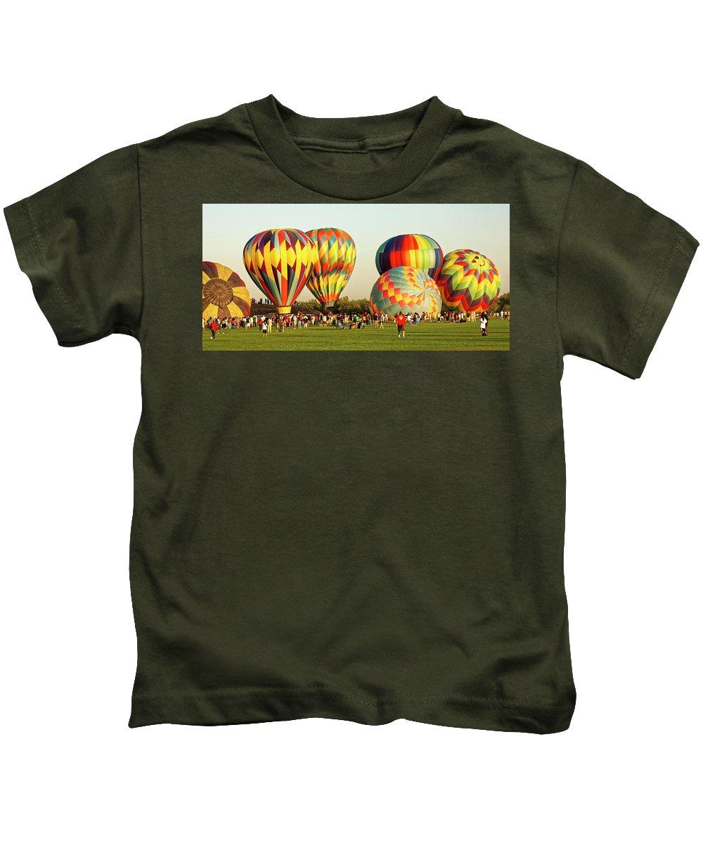 Balloons Kids T-Shirt featuring the photograph Hot Air Balloons by Robert Urwyler