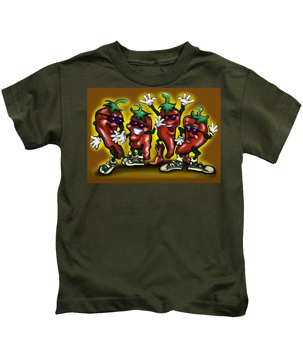 Hot Kids T-Shirt featuring the digital art Hot Peppers by Kevin Middleton