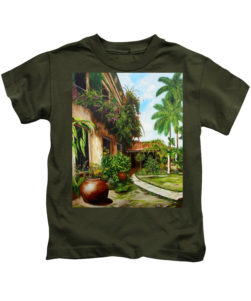 Cuban Kids T-Shirt featuring the painting Hotel Camaguey by Dominica Alcantara