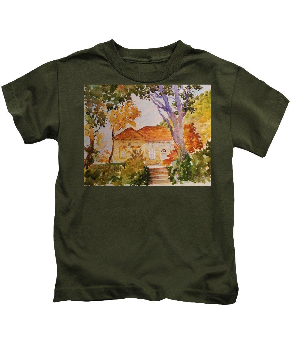 Watercolor-lebanon Kids T-Shirt featuring the painting House Beside Mountain by Ghazi Toutounji