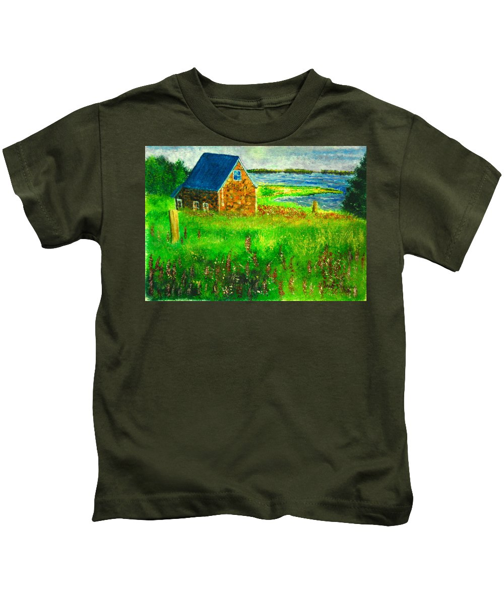 House Kids T-Shirt featuring the painting House By The Field by Matthew Doronila