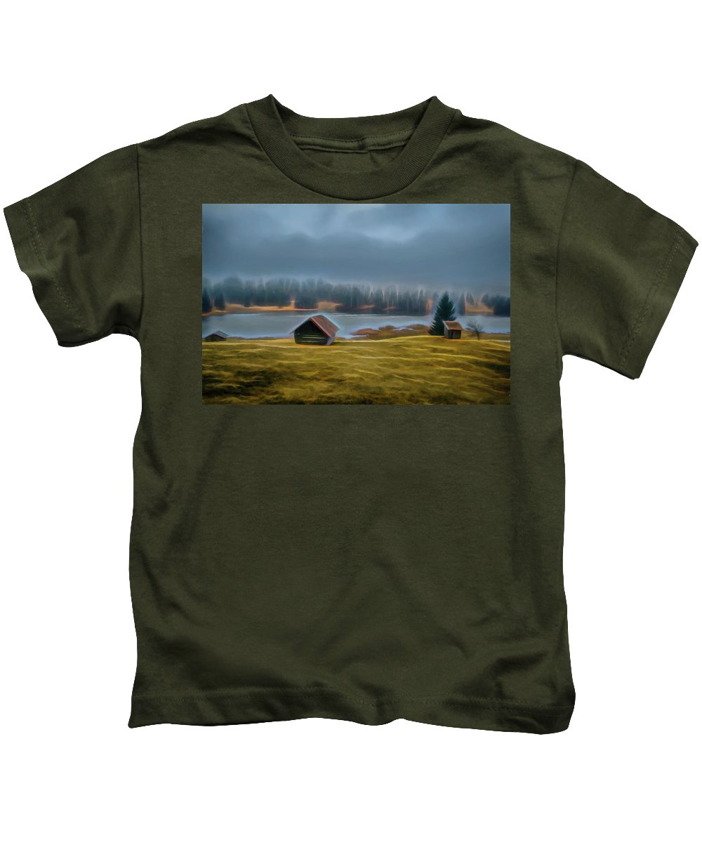 Nature Kids T-Shirt featuring the photograph House By The Lake by Robert Manea