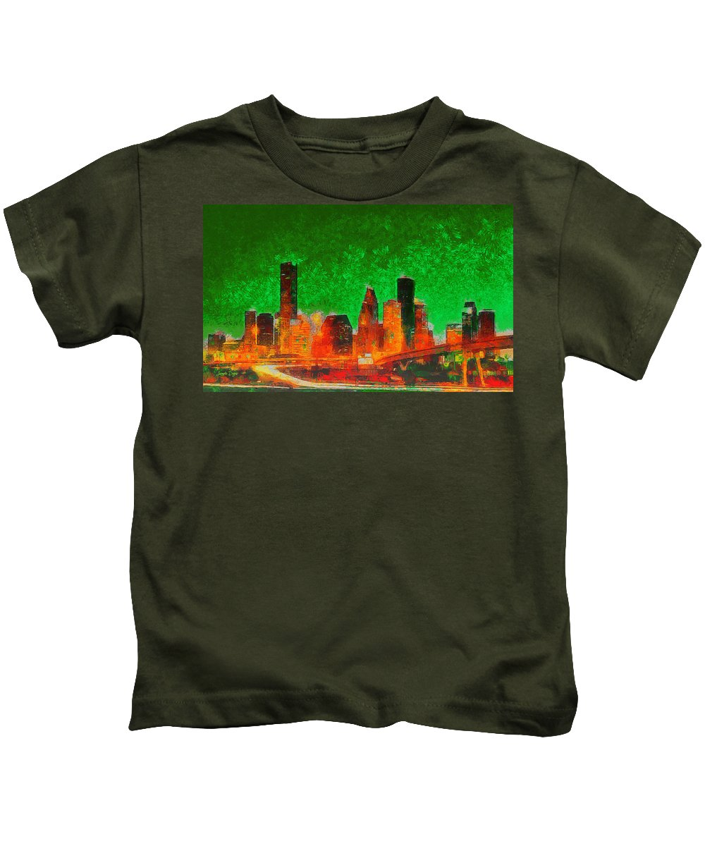 Houston Skyline Kids T-Shirt featuring the painting Houston Skyline 133 - Pa by Leonardo Digenio