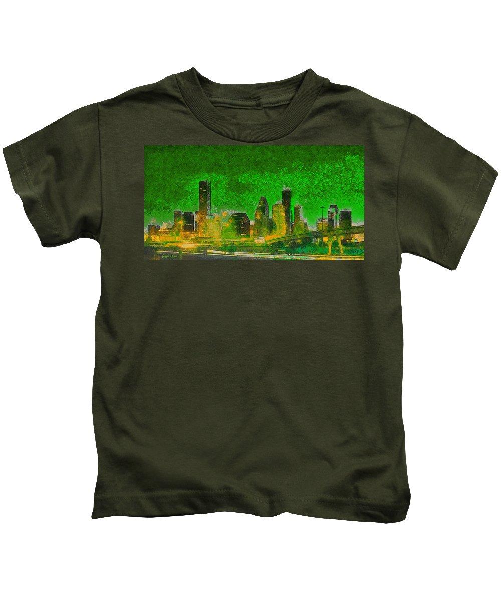Houston Skyline Kids T-Shirt featuring the painting Houston Skyline 49 - Pa by Leonardo Digenio
