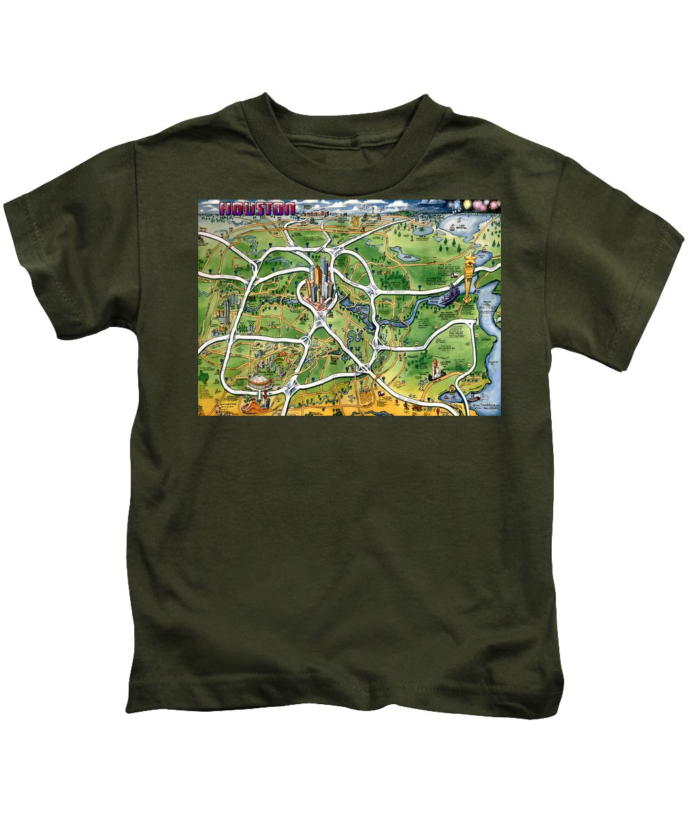 Houston Kids T-Shirt featuring the painting Houston Texas Cartoon Map by Kevin Middleton
