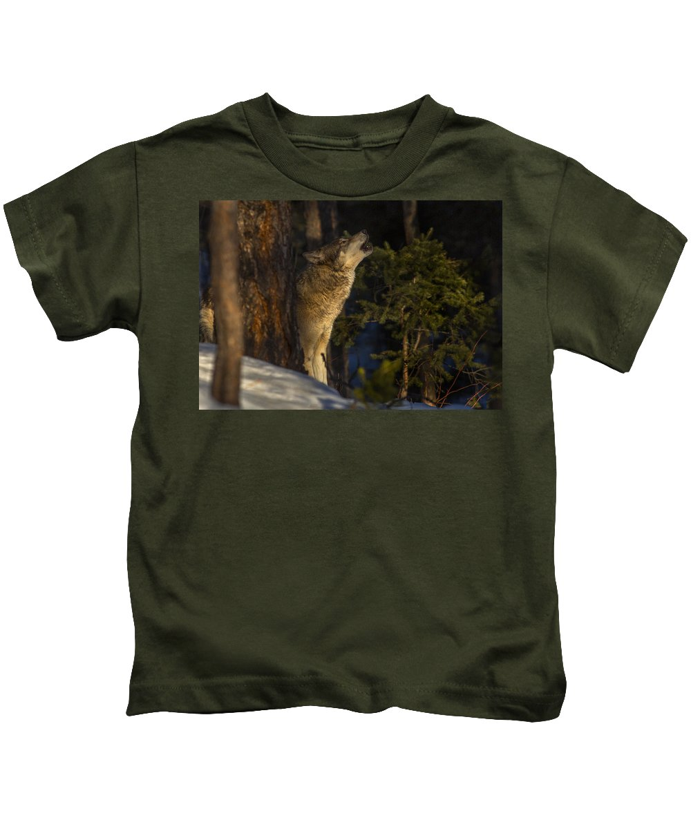 Wolf Kids T-Shirt featuring the photograph Howl In The Woods by Jeff Shumaker