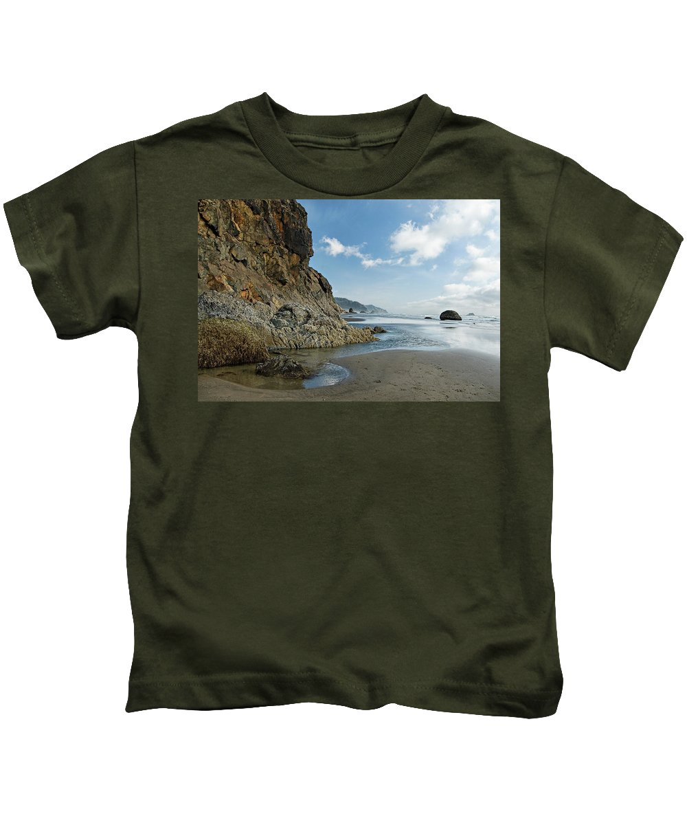 Oregon Kids T-Shirt featuring the photograph Hug Point Beach by Renee Hong