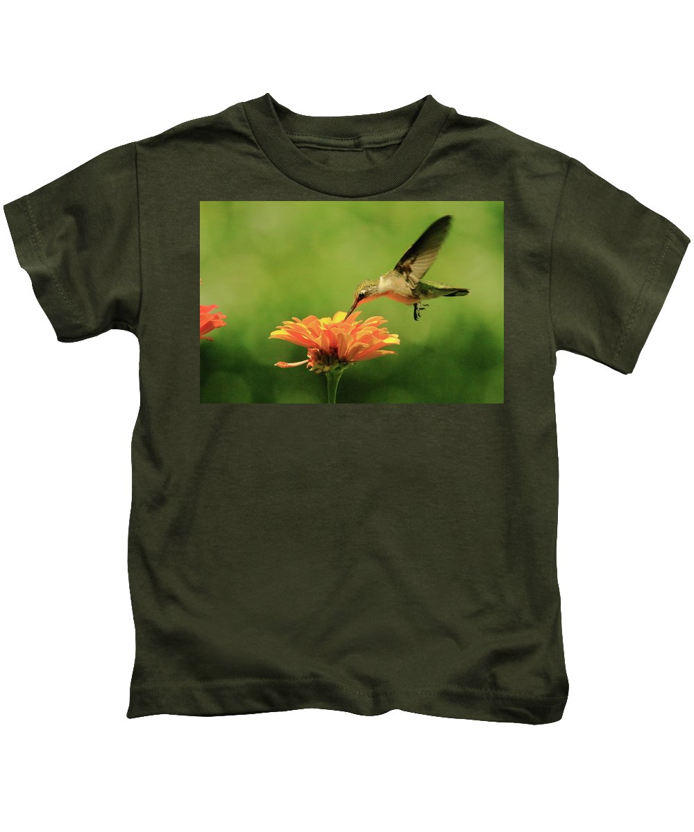 Recent Kids T-Shirt featuring the photograph Hummer And Zinnia by Geraldine Scull