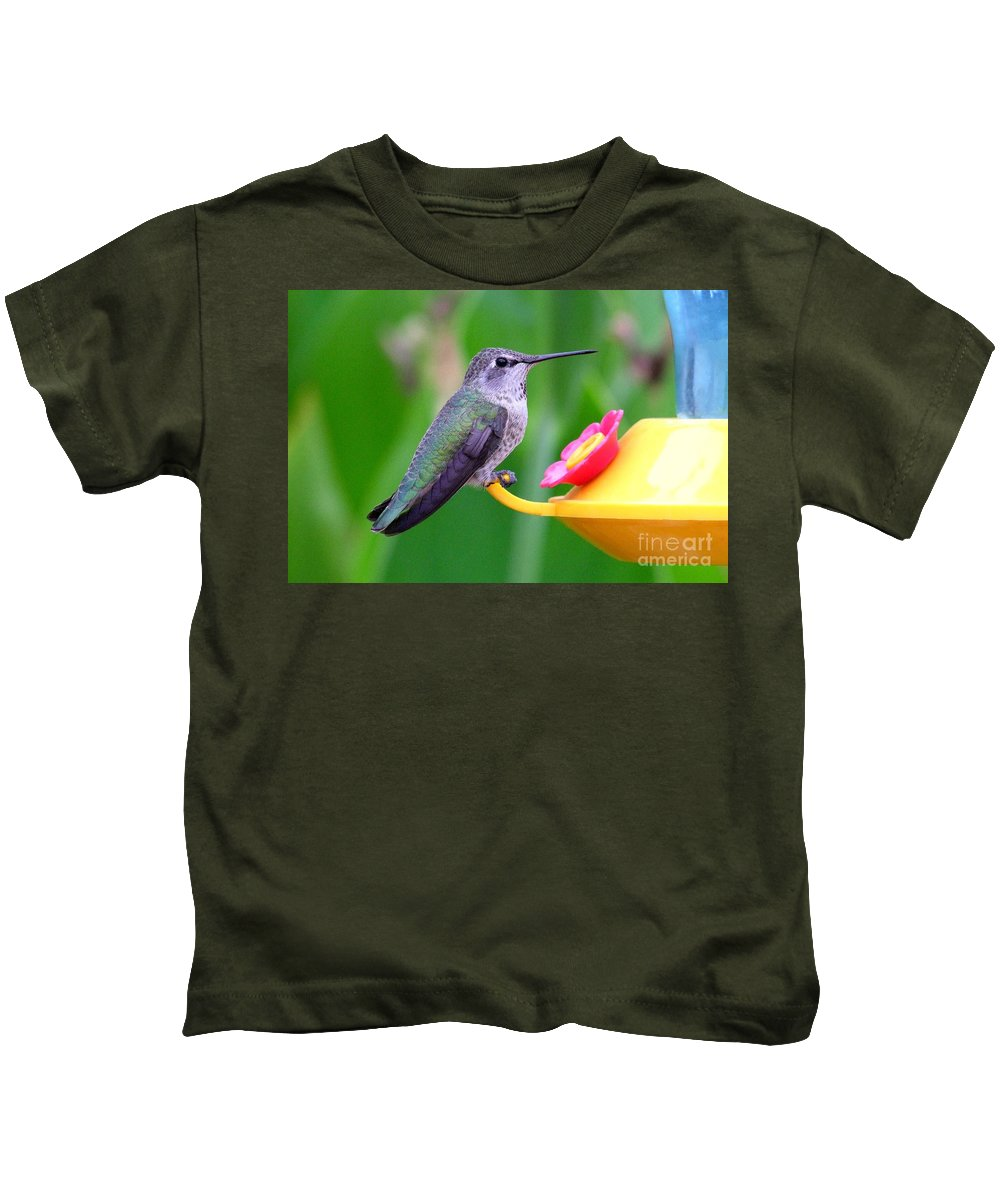 Green Kids T-Shirt featuring the photograph Hummingbird 32 by Mary Deal