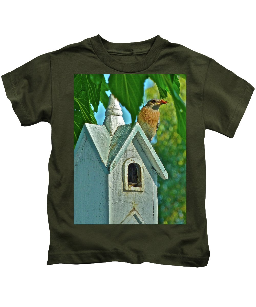 Birds Kids T-Shirt featuring the photograph Hungry Baby by Diana Hatcher