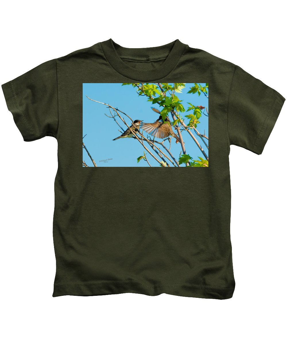 Birds Kids T-Shirt featuring the photograph Hungry Birds In Tree Close-up by S Michael Basly PhotoGraphics By S Michael