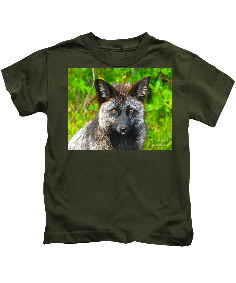Gray Fox Kids T-Shirt featuring the photograph Hungry Eyes by David Lee Thompson