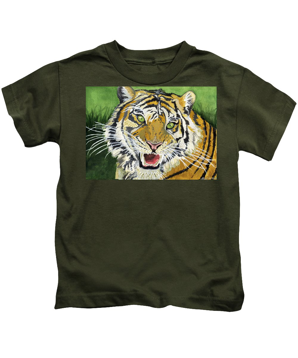 Tiger Kids T-Shirt featuring the painting Hungry Tiger by Alban Dizdari