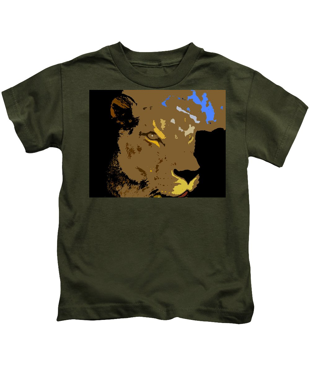 Lion Kids T-Shirt featuring the painting Huntress by David Lee Thompson