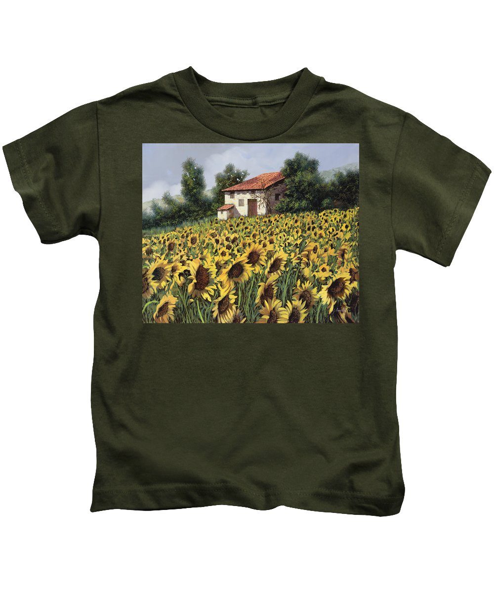 Tuscany Kids T-Shirt featuring the painting I Girasoli Nel Campo by Guido Borelli