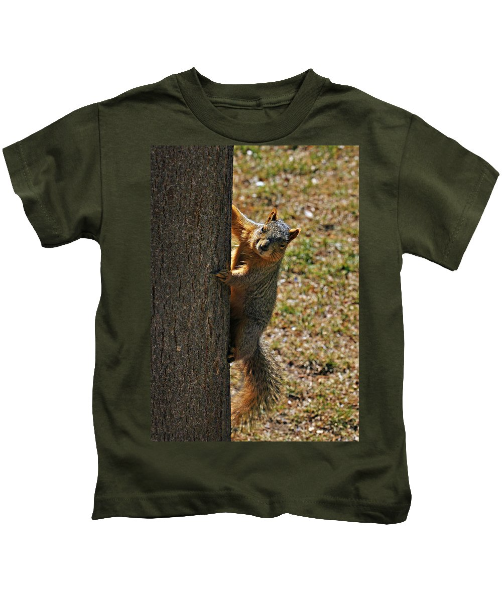 Squirrel Kids T-Shirt featuring the photograph I See You by Marilyn Hunt