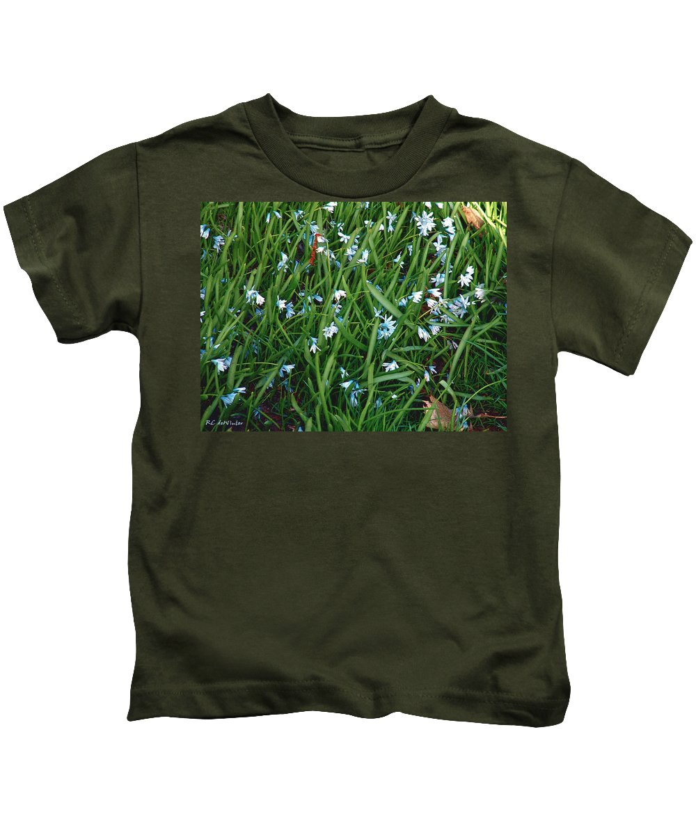 Blue Kids T-Shirt featuring the painting Iceblue Squill by RC DeWinter