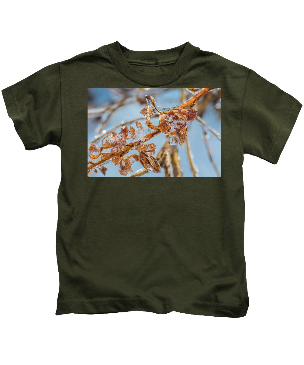 Gold Kids T-Shirt featuring the photograph Iced Gold by Debbie Gracy