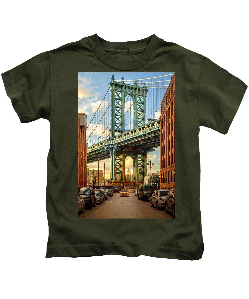 New York City Kids T-Shirt featuring the photograph Iconic Manhattan by Az Jackson