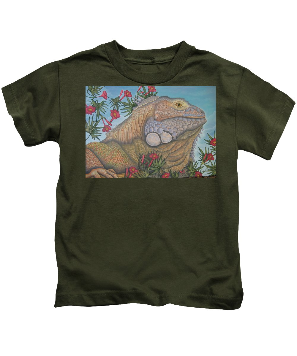 Lizard Kids T-Shirt featuring the painting Iguana Iguana by Jeniffer Stapher-Thomas
