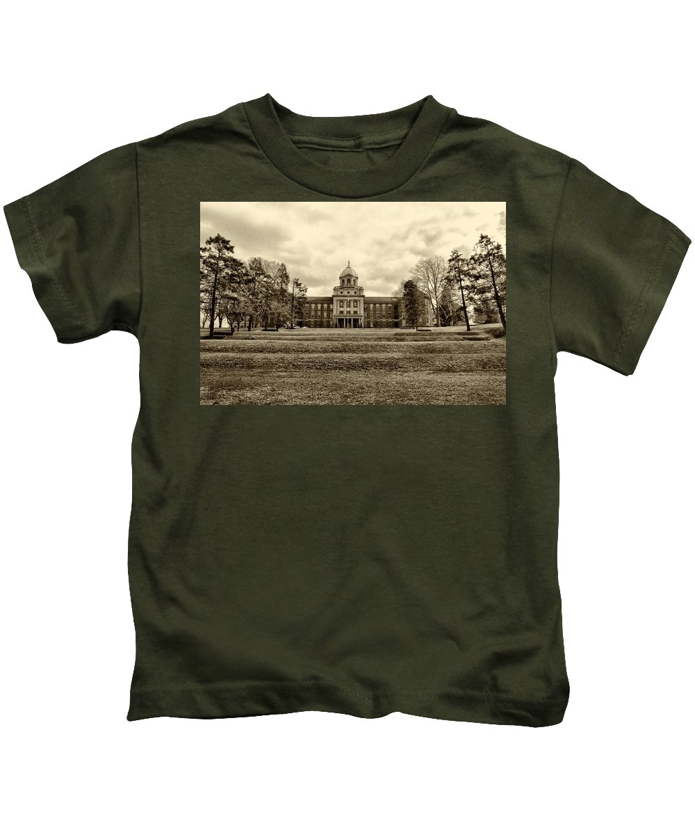 Immaculata Kids T-Shirt featuring the photograph Immaculata University In Black And White by Bill Cannon