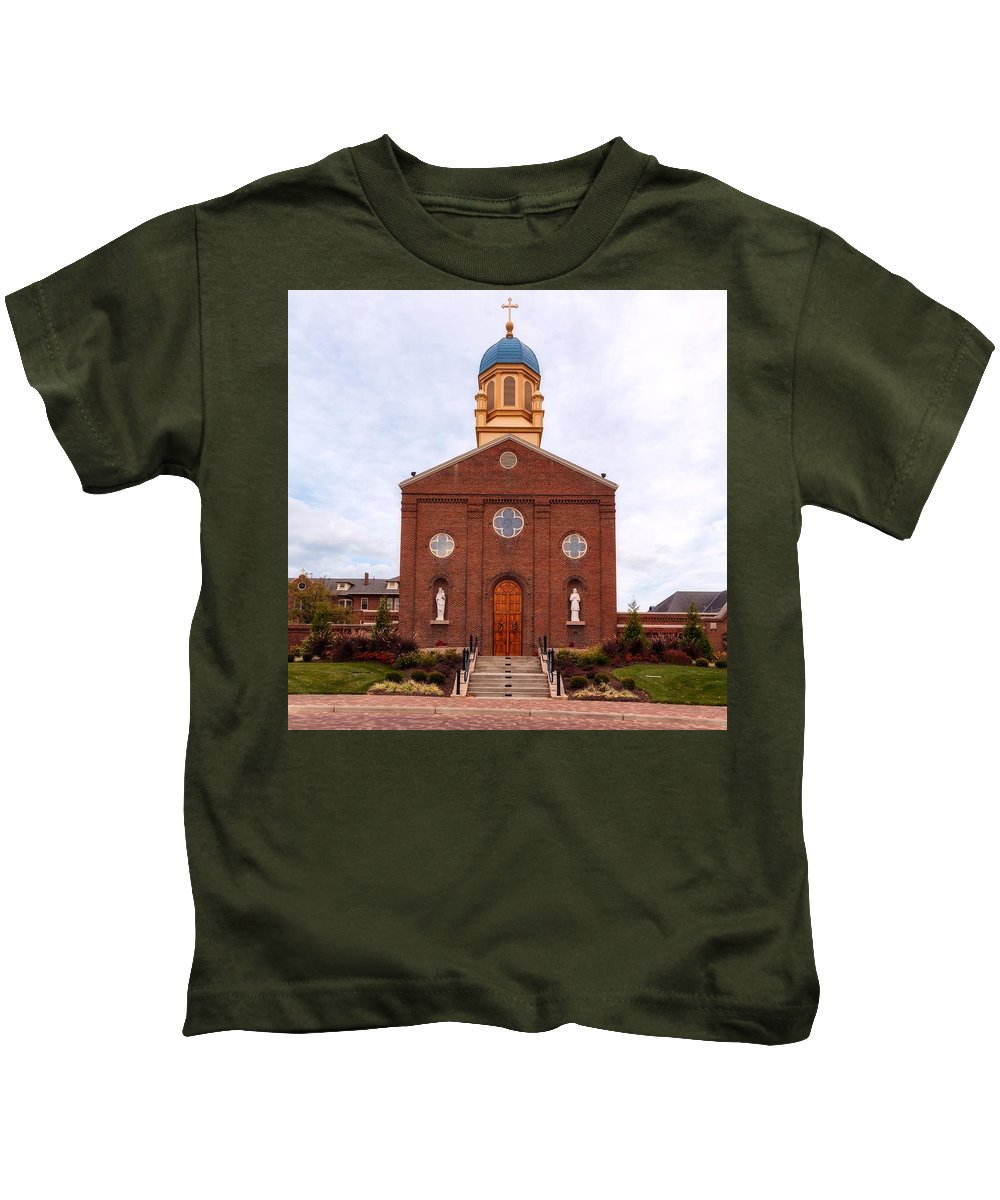 University Of Dayton Kids T-Shirt featuring the photograph Immaculate Conception Chapel - University Of Dayton by Mountain Dreams