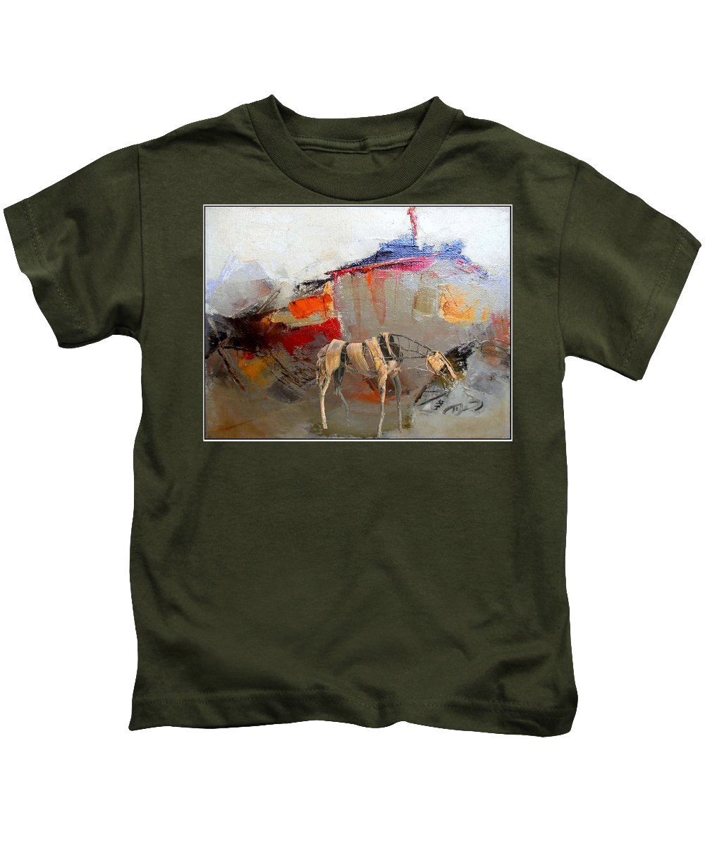 Landscape Kids T-Shirt featuring the mixed media Impression 2 by Pemaro